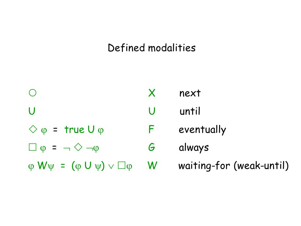Defined modalities  X next. U U until.   = true U  F eventually.