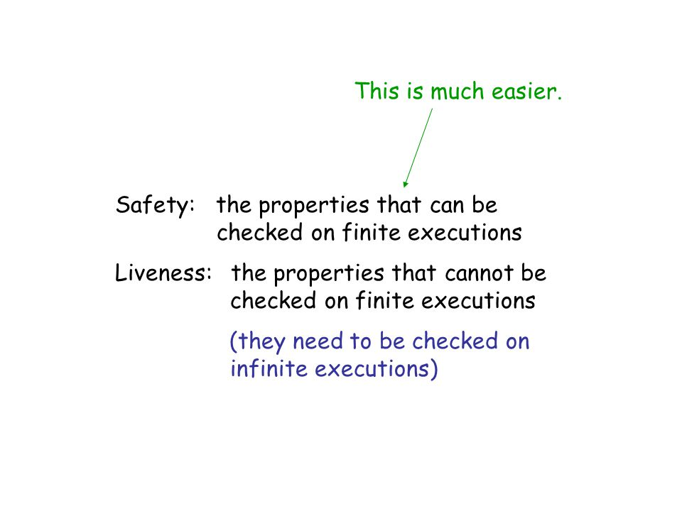 This is much easier. Safety: the properties that can be checked on finite executions.
