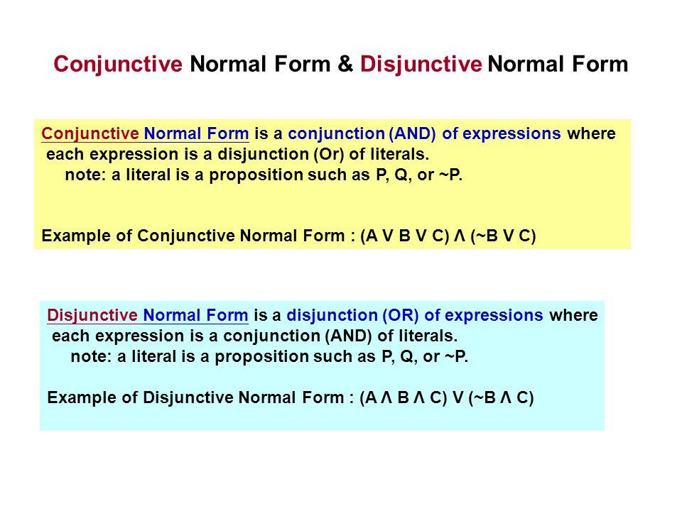 Conjunctive Normal Form & Disjunctive Normal Form