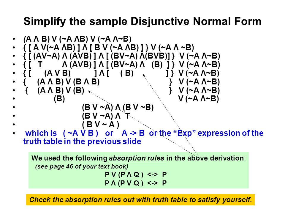 Simplify the sample Disjunctive Normal Form
