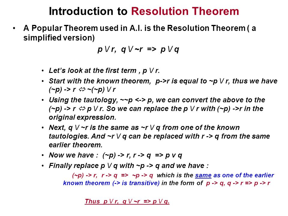 Introduction to Resolution Theorem