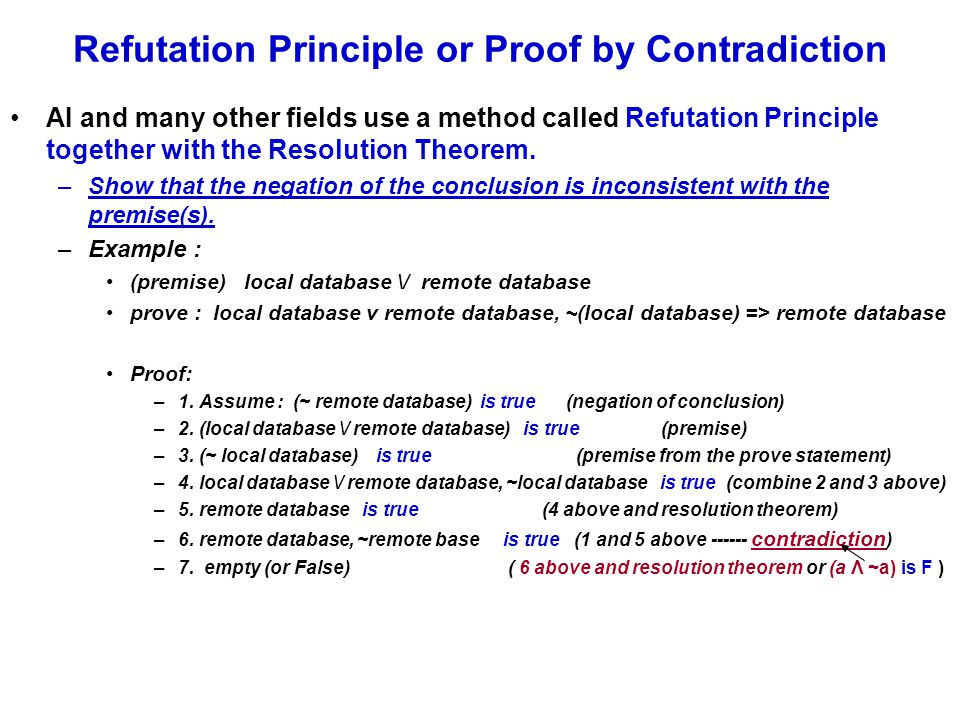 Refutation Principle or Proof by Contradiction