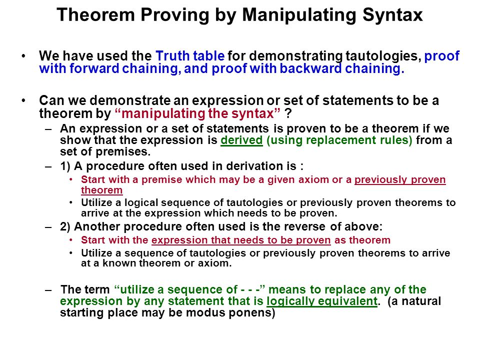 Theorem Proving by Manipulating Syntax