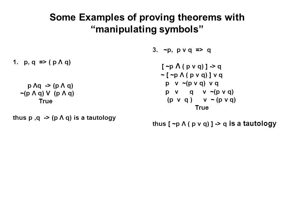 Some Examples of proving theorems with manipulating symbols