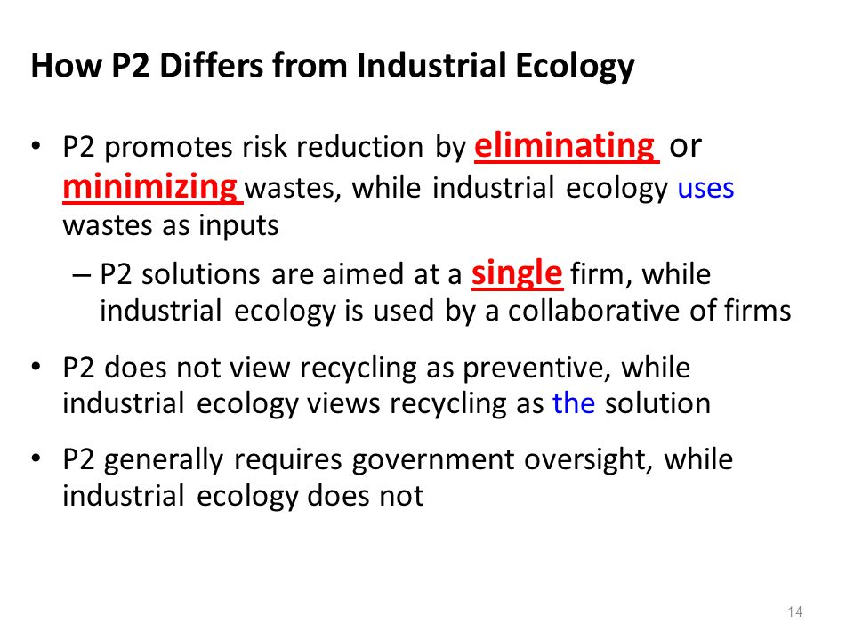 How P2 Differs from Industrial Ecology