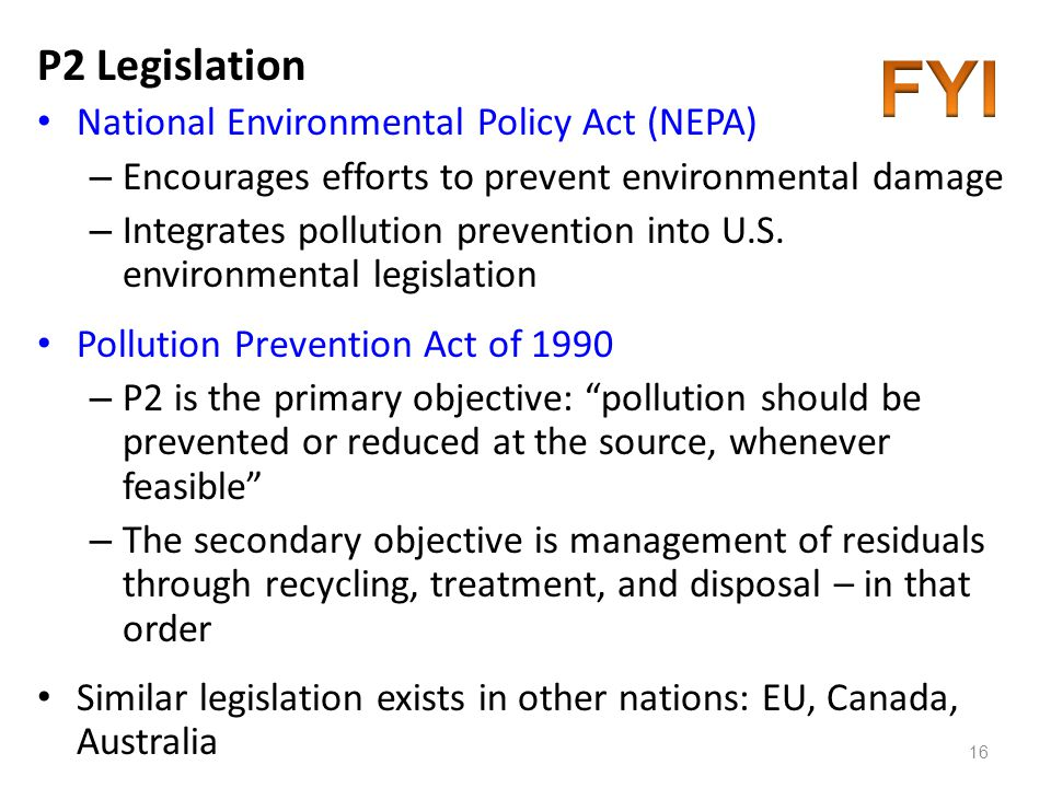 FYI P2 Legislation National Environmental Policy Act (NEPA)