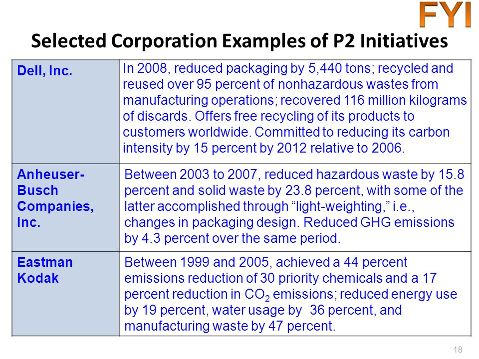 Selected Corporation Examples of P2 Initiatives