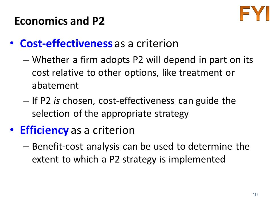 FYI Economics and P2 Cost-effectiveness as a criterion