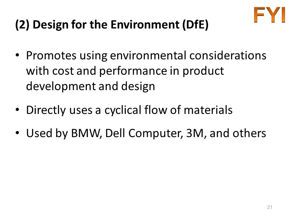 (2) Design for the Environment (DfE)
