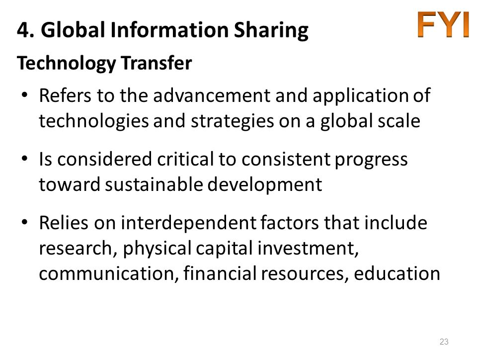 4. Global Information Sharing Technology Transfer