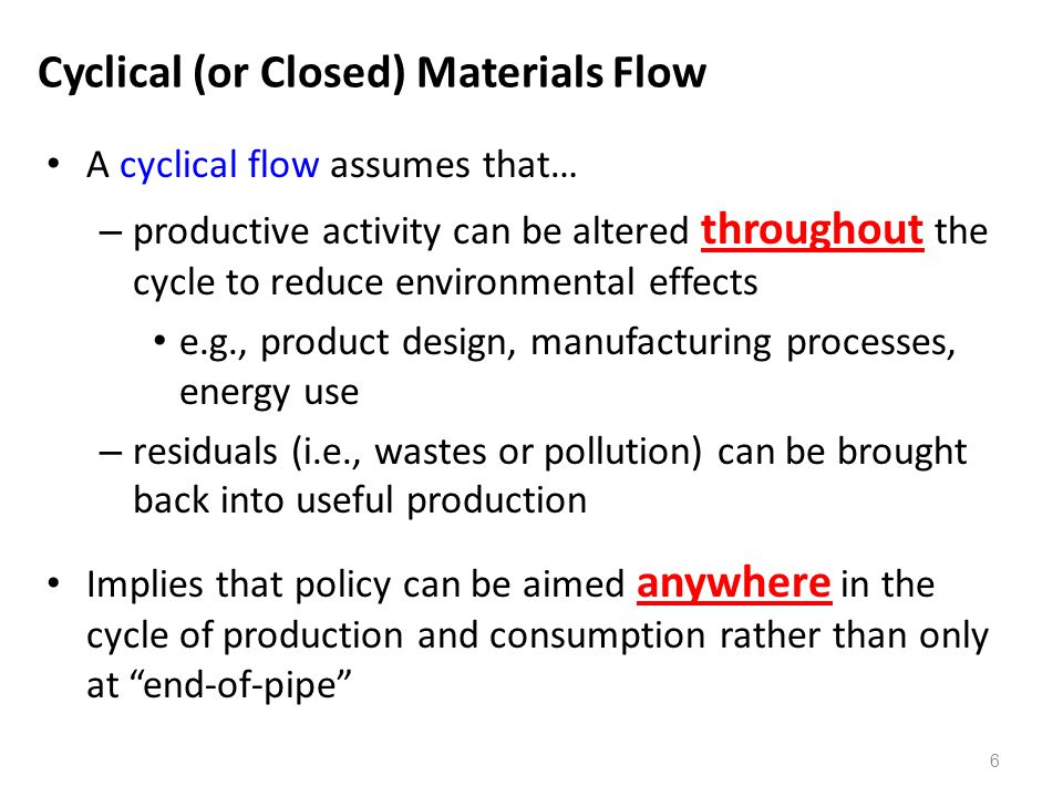 Cyclical (or Closed) Materials Flow