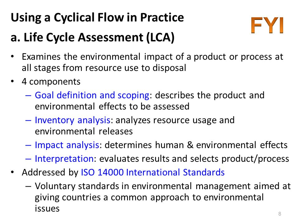 Using a Cyclical Flow in Practice a. Life Cycle Assessment (LCA)