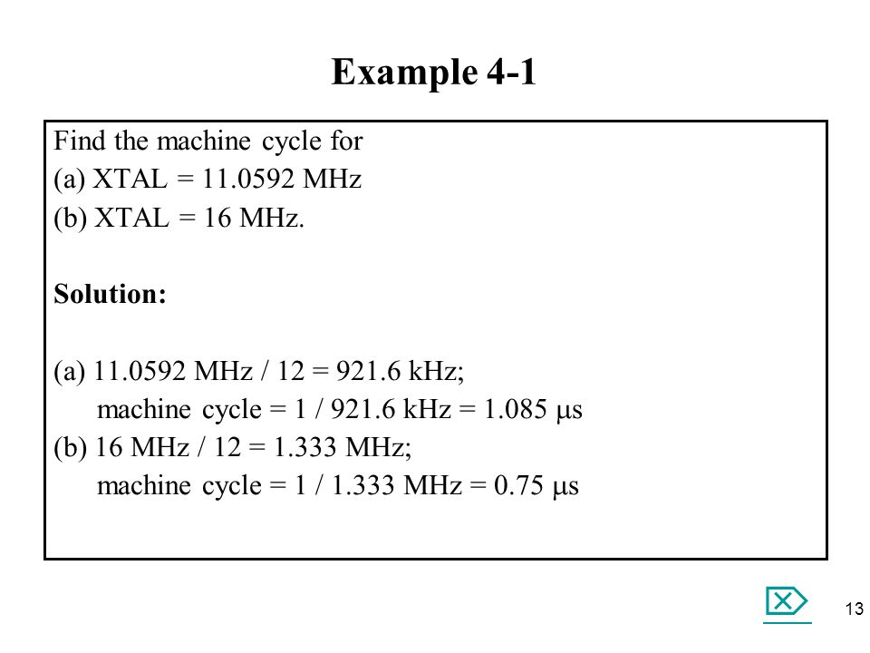 Example 4-1  Find the machine cycle for (a) XTAL = 11.0592 MHz