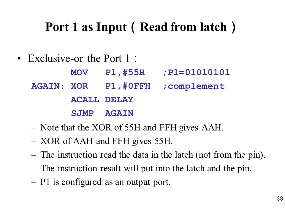 Port 1 as Input(Read from latch)