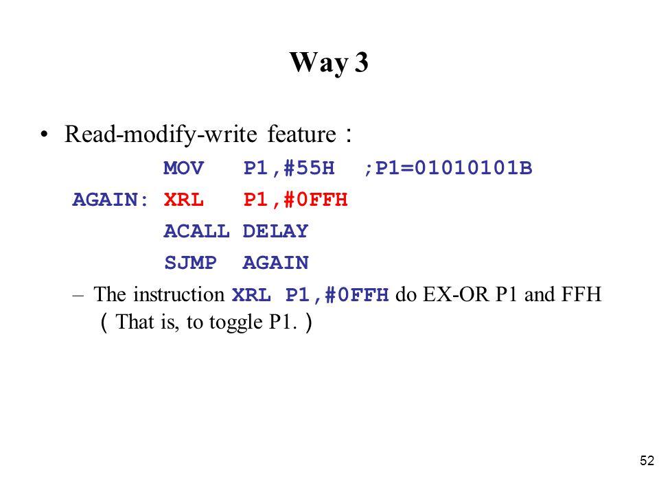 Way 3 Read-modify-write feature: MOV P1,#55H ;P1=01010101B