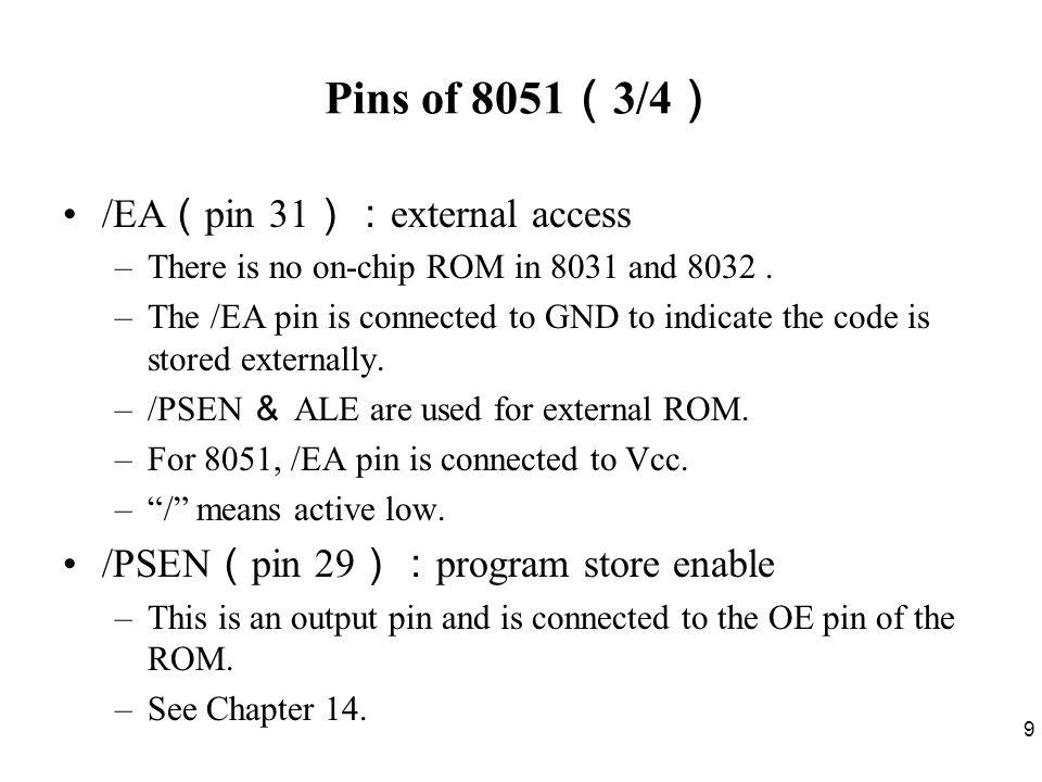 Pins of 8051(3/4) /EA(pin 31):external access