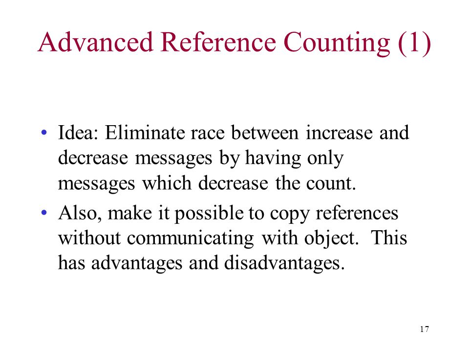 Advanced Reference Counting (1)