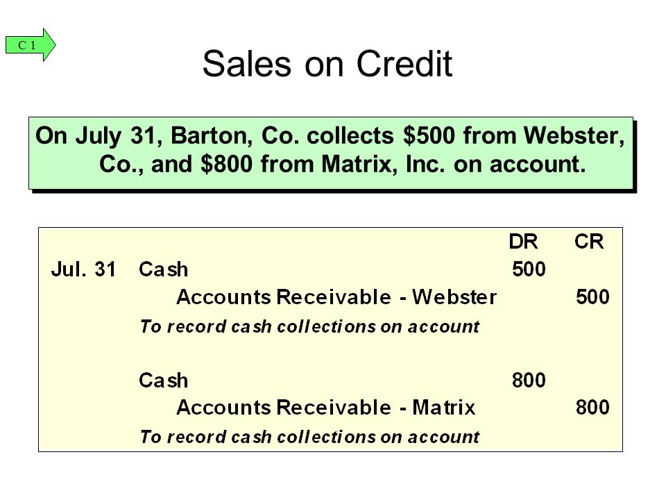C 1 Sales on Credit. On July 31, Barton, Co. collects $500 from Webster, Co., and $800 from Matrix, Inc. on account.