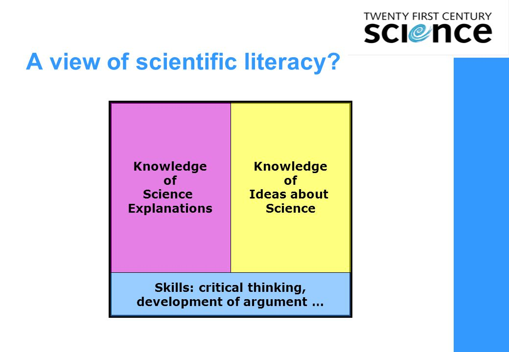 A view of scientific literacy