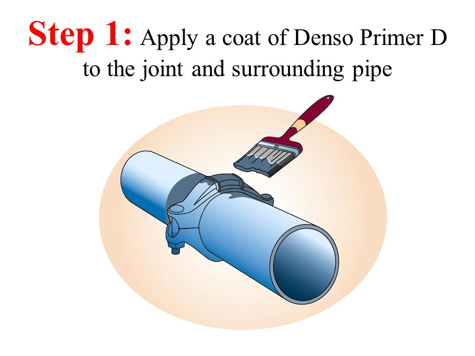 Step 1: Apply a coat of Denso Primer D to the joint and surrounding pipe