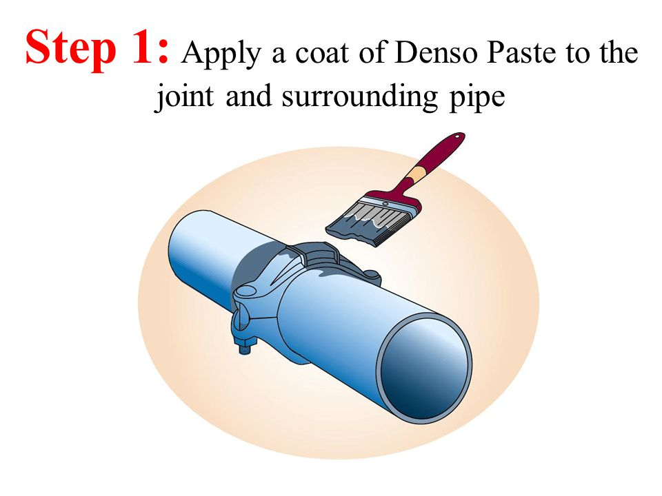 Step 1: Apply a coat of Denso Paste to the joint and surrounding pipe