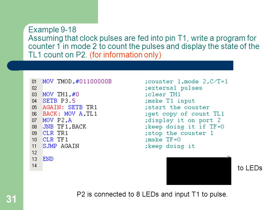 Example 9-18 Assuming that clock pulses are fed into pin T1, write a program for counter 1 in mode 2 to count the pulses and display the state of the TL1 count on P2. (for information only)