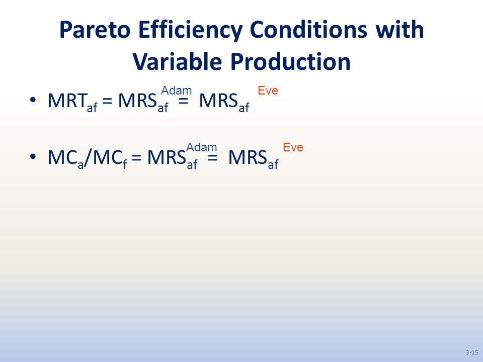 Pareto Efficiency Conditions with Variable Production