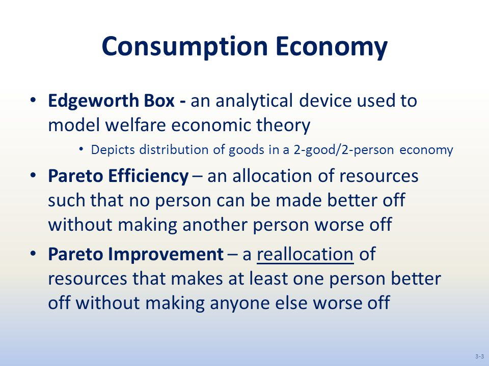 Consumption Economy Edgeworth Box - an analytical device used to model welfare economic theory.