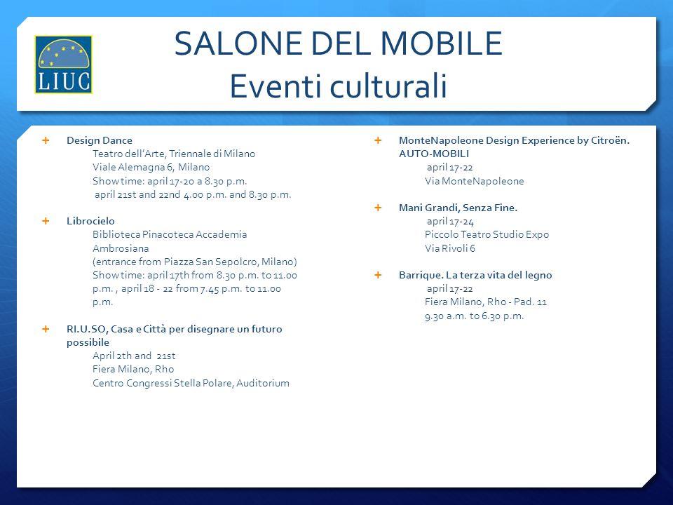 SALONE DEL MOBILE Eventi culturali