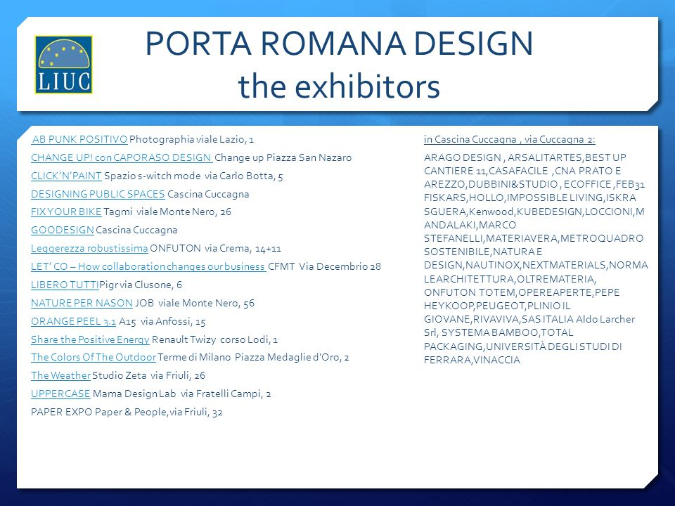 PORTA ROMANA DESIGN the exhibitors