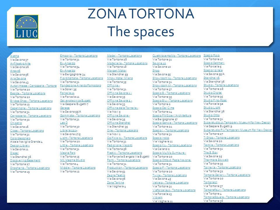 ZONA TORTONA The spaces