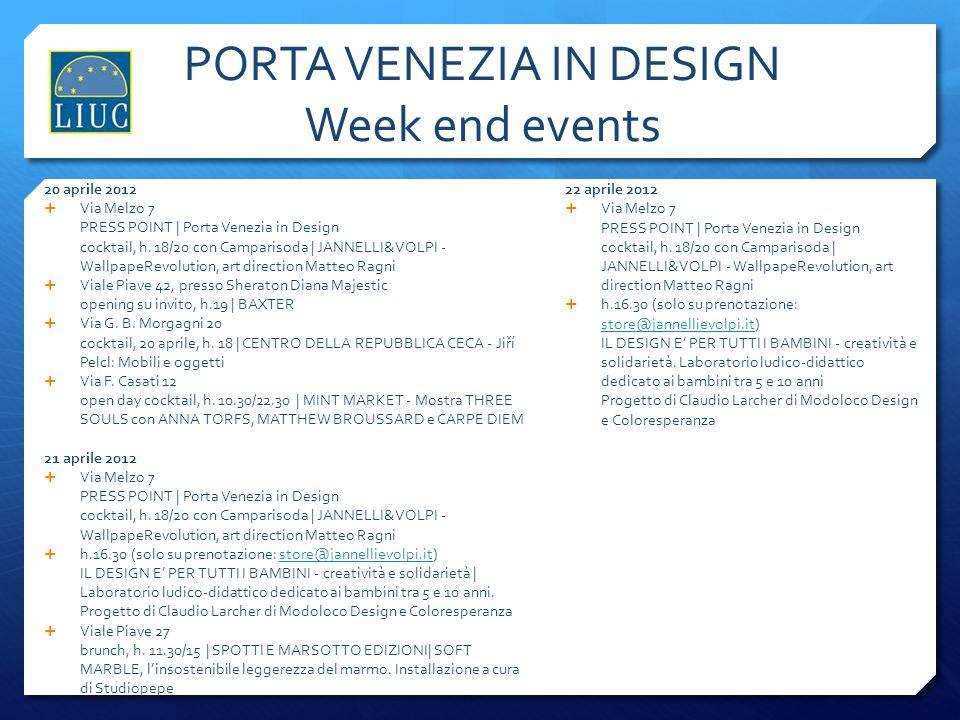 PORTA VENEZIA IN DESIGN Week end events
