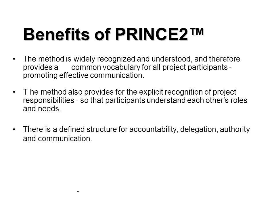 Benefits of PRINCE2™