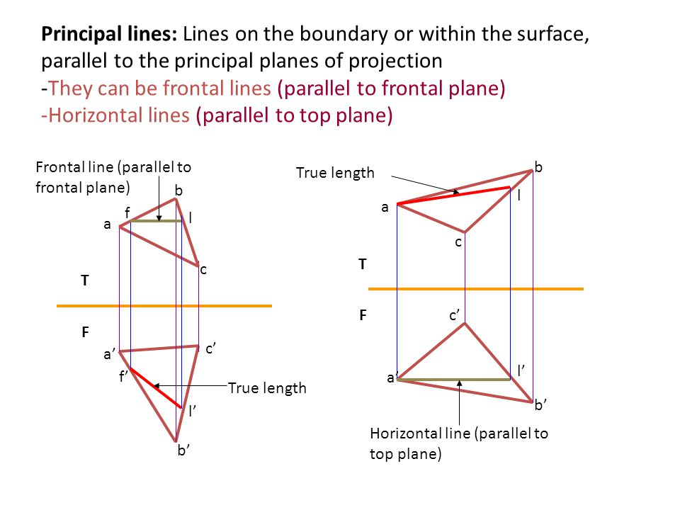 Principal lines: Lines on the boundary or within the surface, parallel to the principal planes of projection -They can be frontal lines (parallel to frontal plane) -Horizontal lines (parallel to top plane)