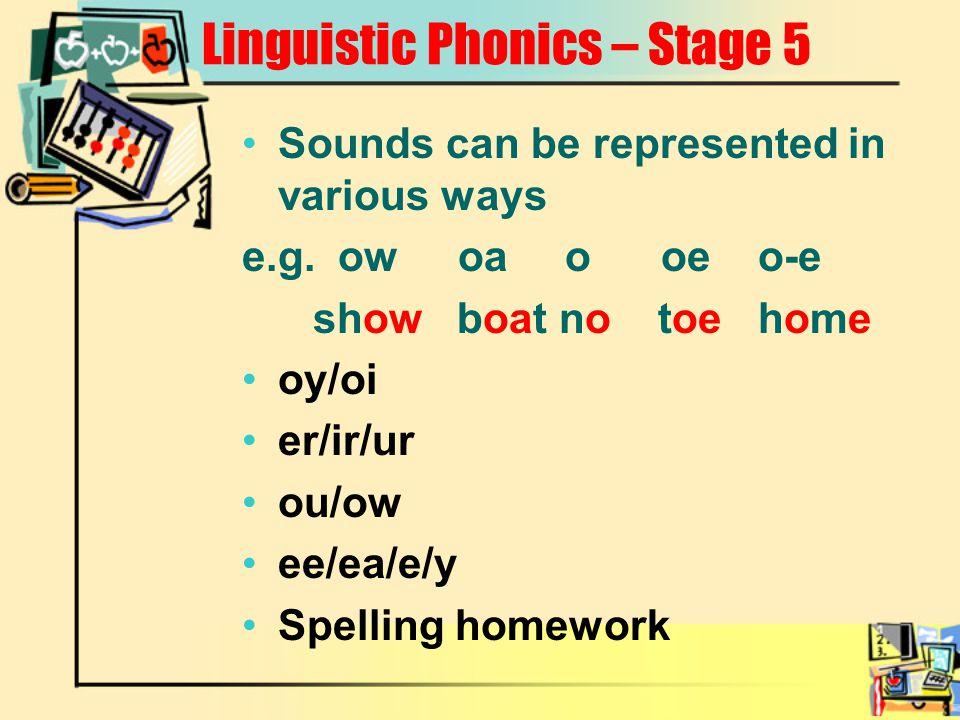 Linguistic Phonics – Stage 5
