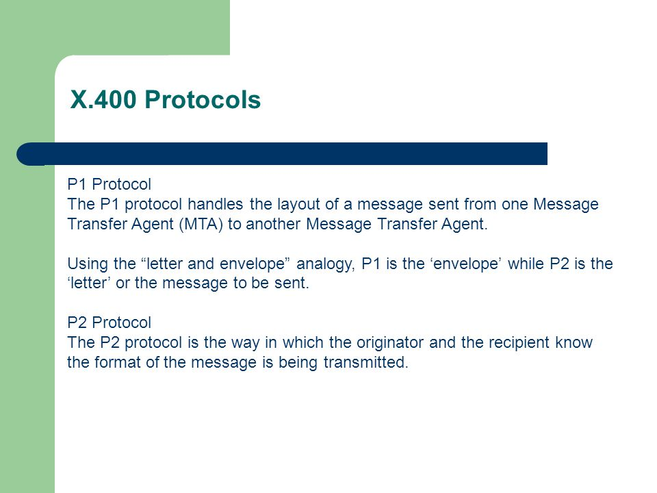 X.400 Protocols P1 Protocol.