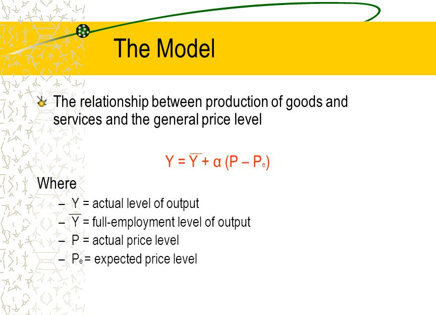 The Model The relationship between production of goods and services and the general price level. Y = Y + α (P – Pe)