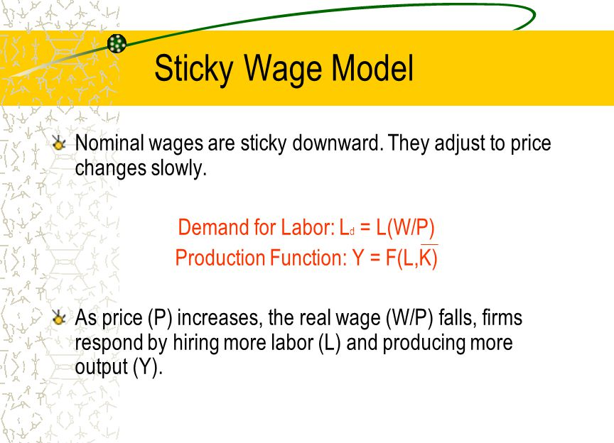 Sticky Wage Model Nominal wages are sticky downward. They adjust to price changes slowly. Demand for Labor: Ld = L(W/P)