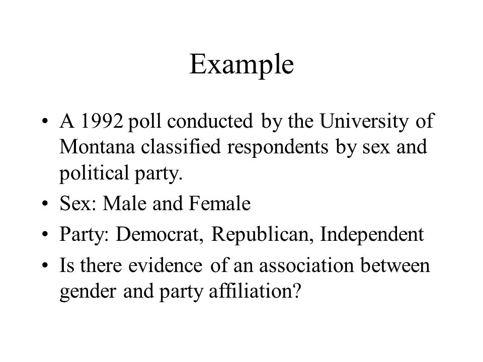 Example A 1992 poll conducted by the University of Montana classified respondents by sex and political party.