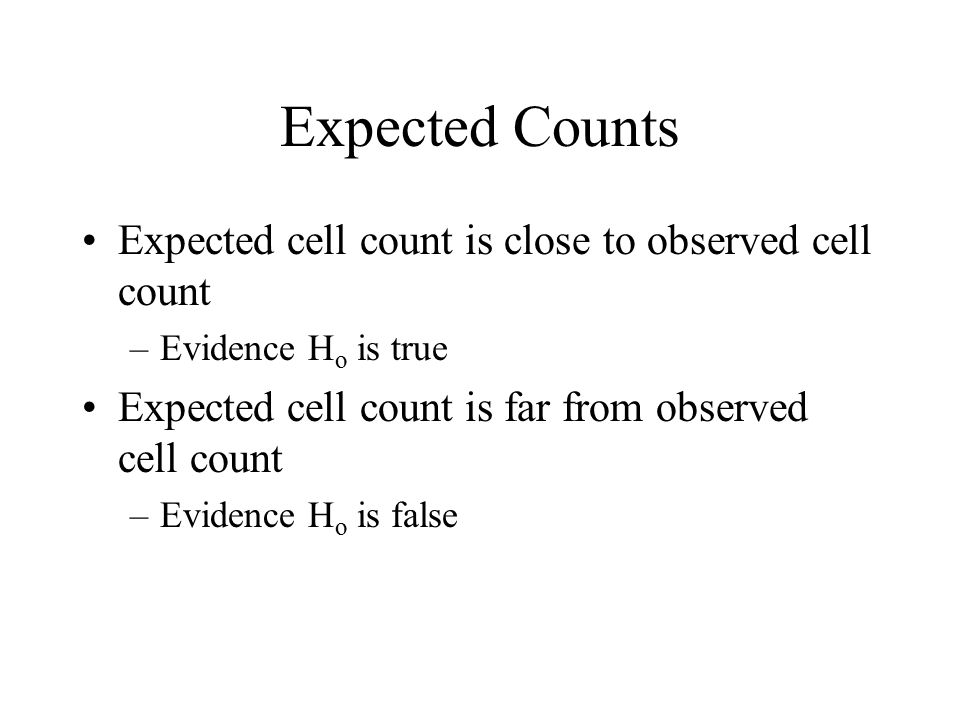 Expected Counts Expected cell count is close to observed cell count
