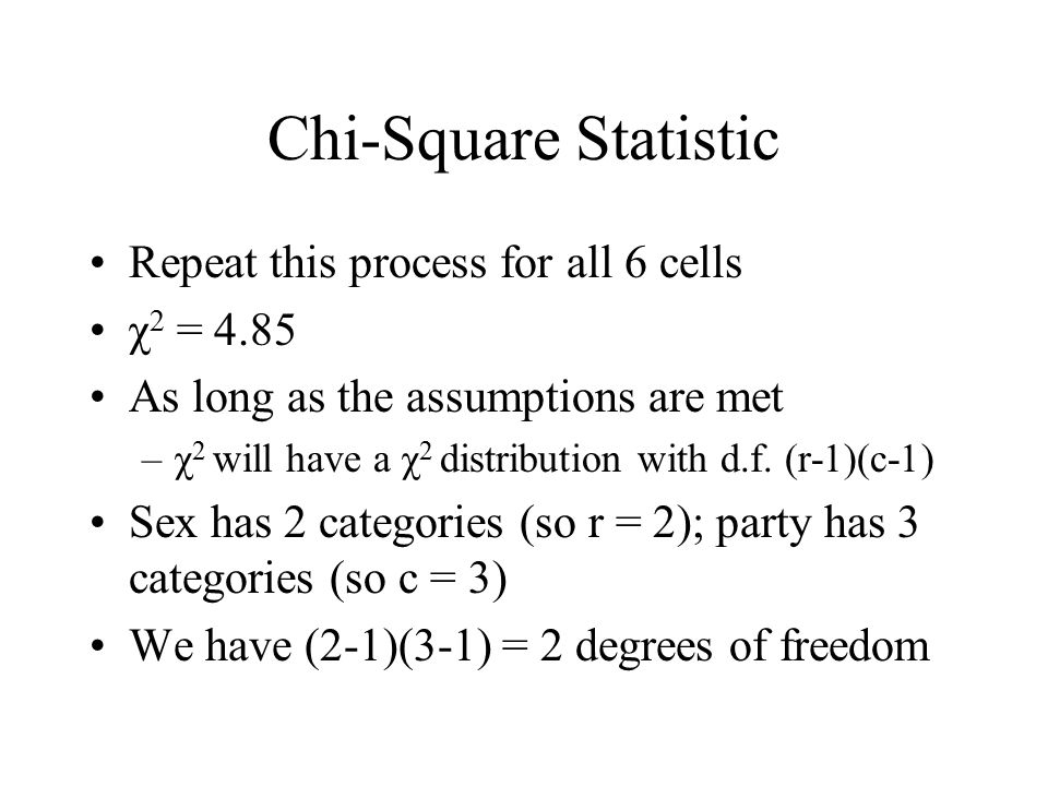 Chi-Square Statistic Repeat this process for all 6 cells χ2 = 4.85