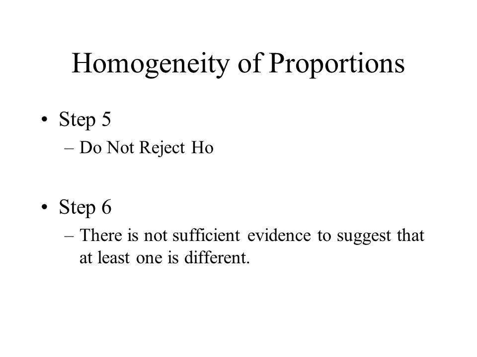 Homogeneity of Proportions