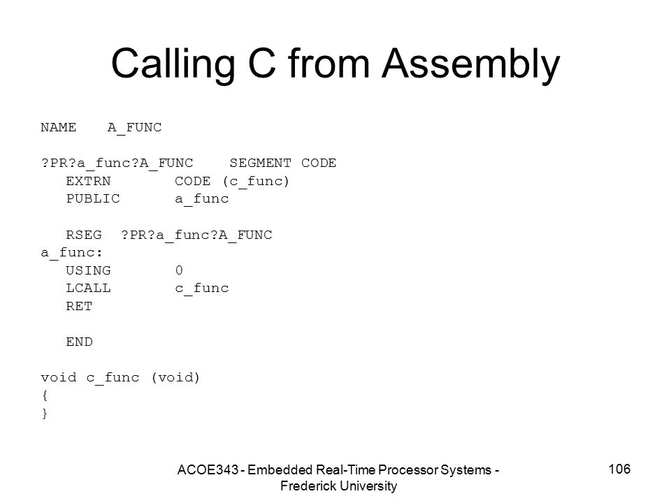 Calling C from Assembly