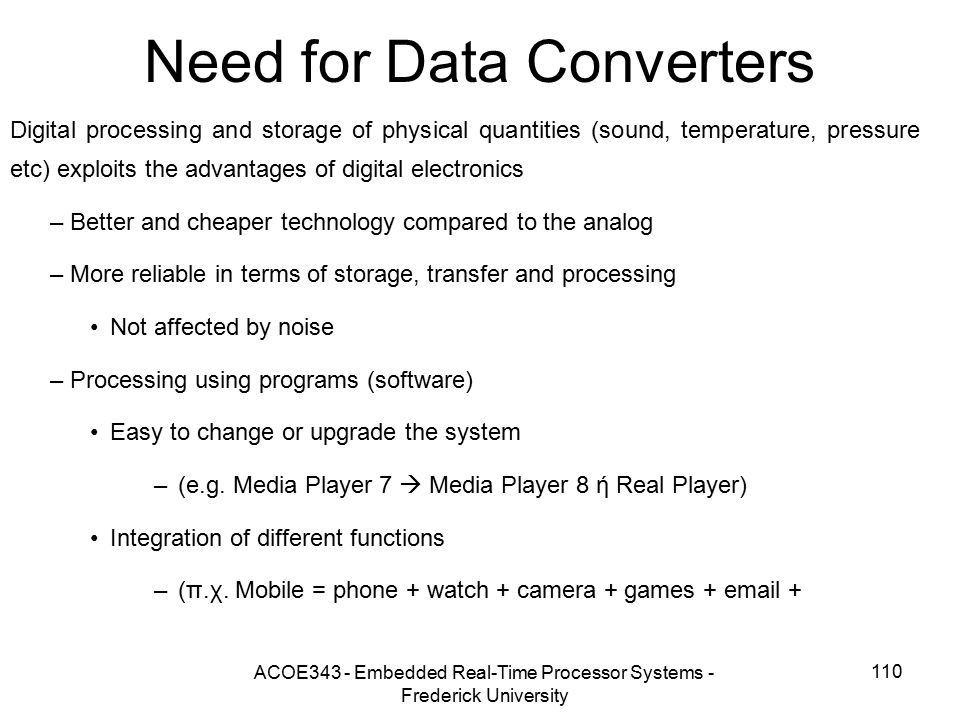Need for Data Converters