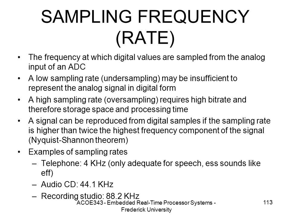 SAMPLING FREQUENCY (RATE)