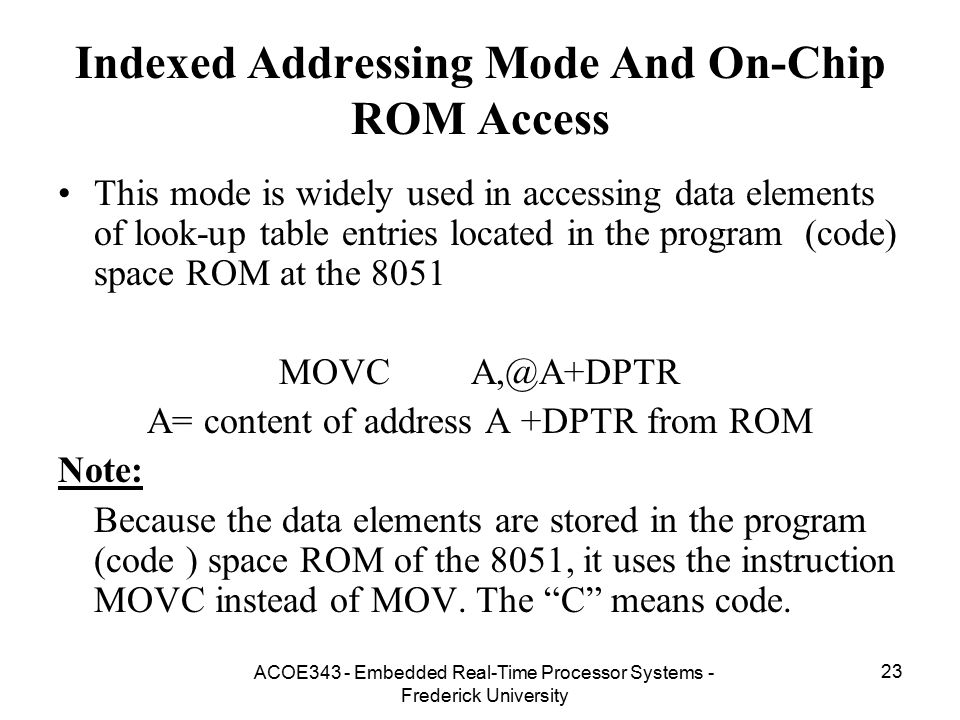 Indexed Addressing Mode And On-Chip ROM Access