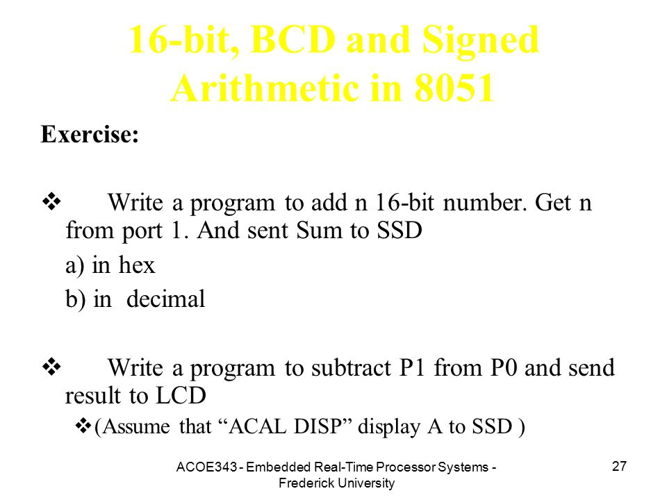 16-bit, BCD and Signed Arithmetic in 8051