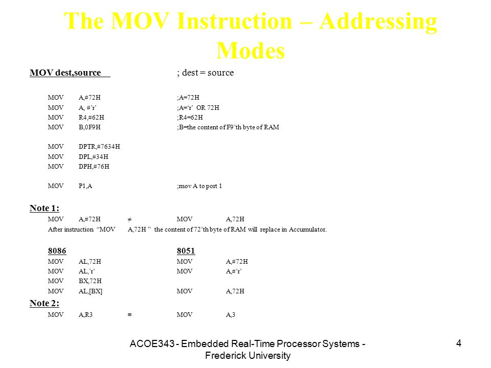 The MOV Instruction – Addressing Modes