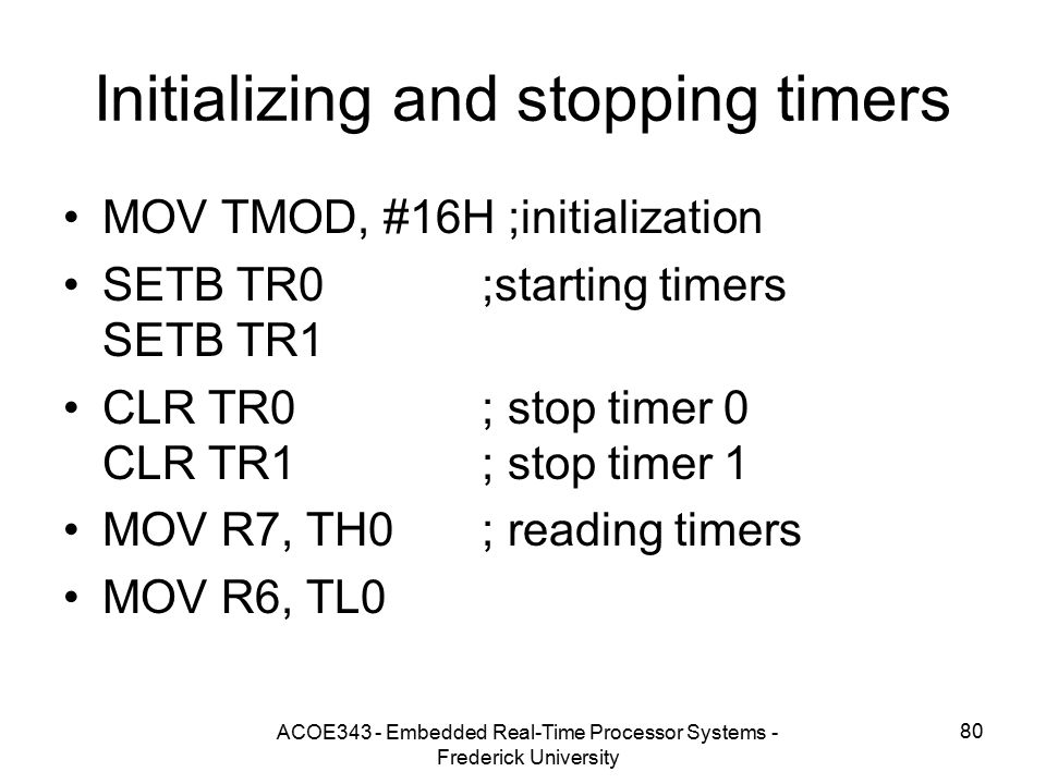 Initializing and stopping timers