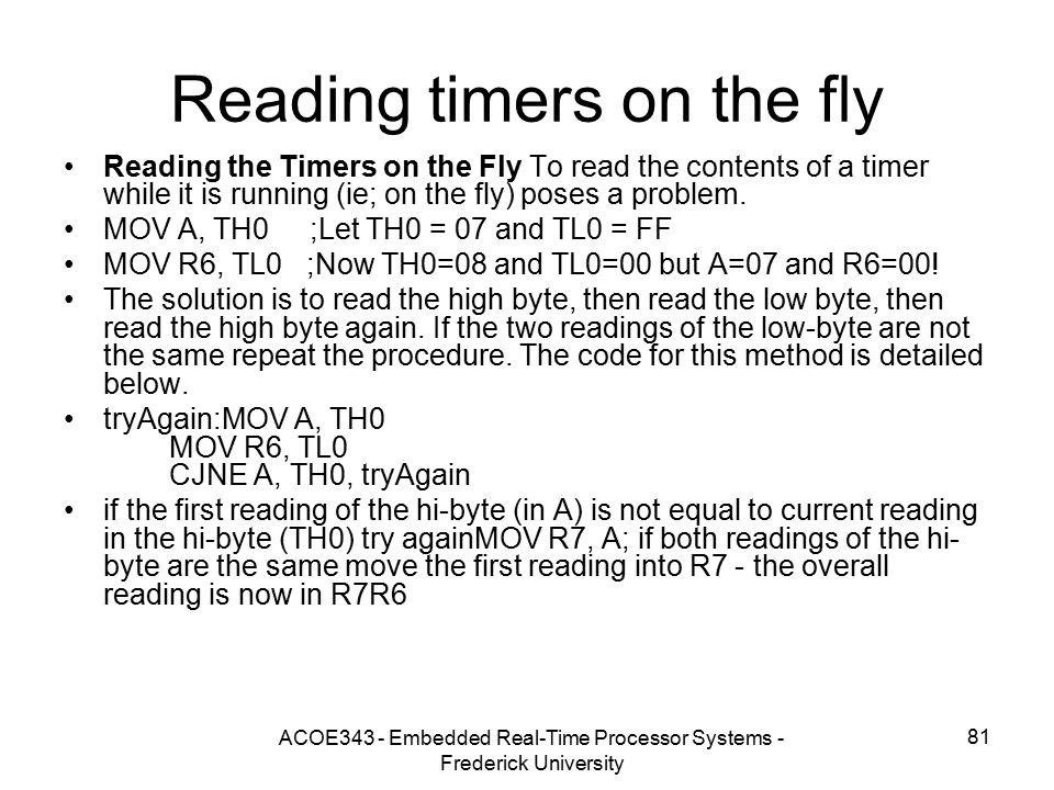 Reading timers on the fly